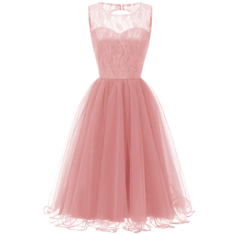 Retro Lace Evening Party Ball Dress Round Neck Hollow Tulle Pleated Prom Gowns Sleeveless Embroidery Open Back Formal Dress