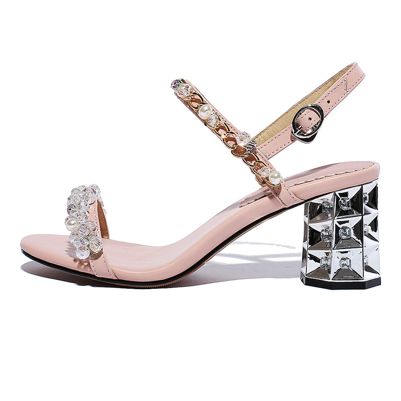 Femelle Strass Hauts Femme Chaussures Silve Rose Lanières De Ouverts Talons À Femmes Sandales Rose D'été argent Cristal Anmairon qO5wIvx0Fn