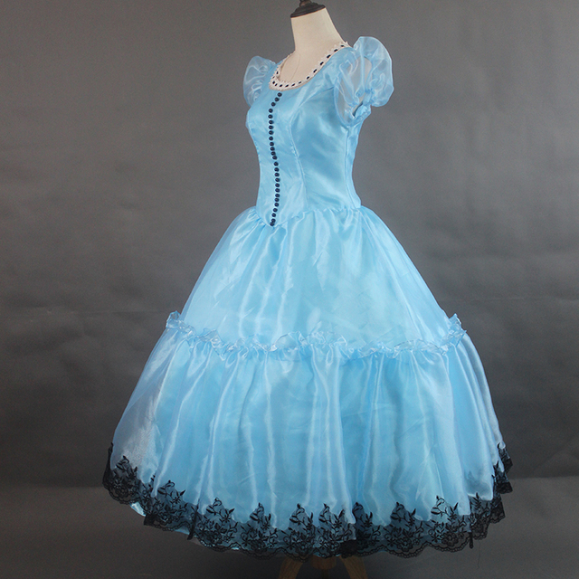 Medieval Renaissance Light Blue And White Gown Dress: 100%real Bubble Sleeve Light Blue Alice Long Dress Cosplay