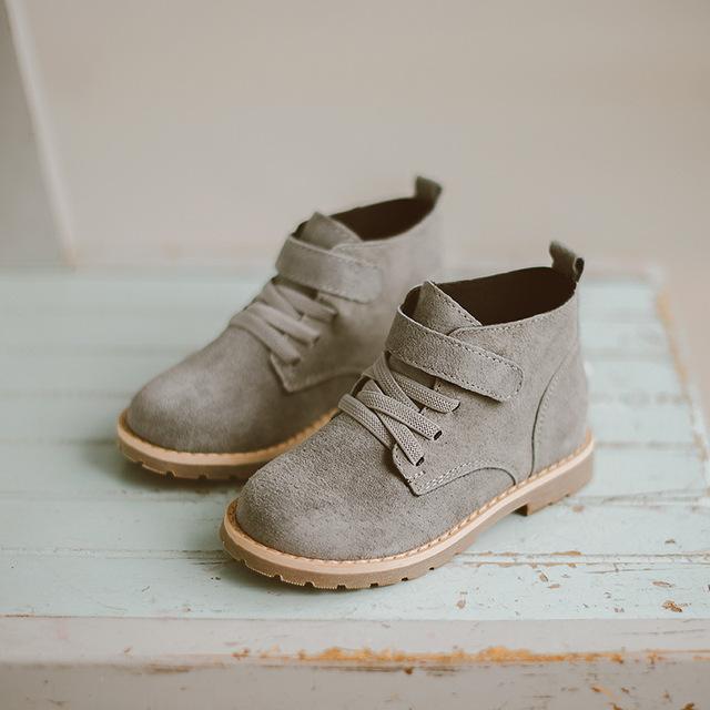 2016 shoes marea martin botas de cuero del invierno de los niños muchachas de los niños cómodos botas hook & loop de gamuza de algodón caliente