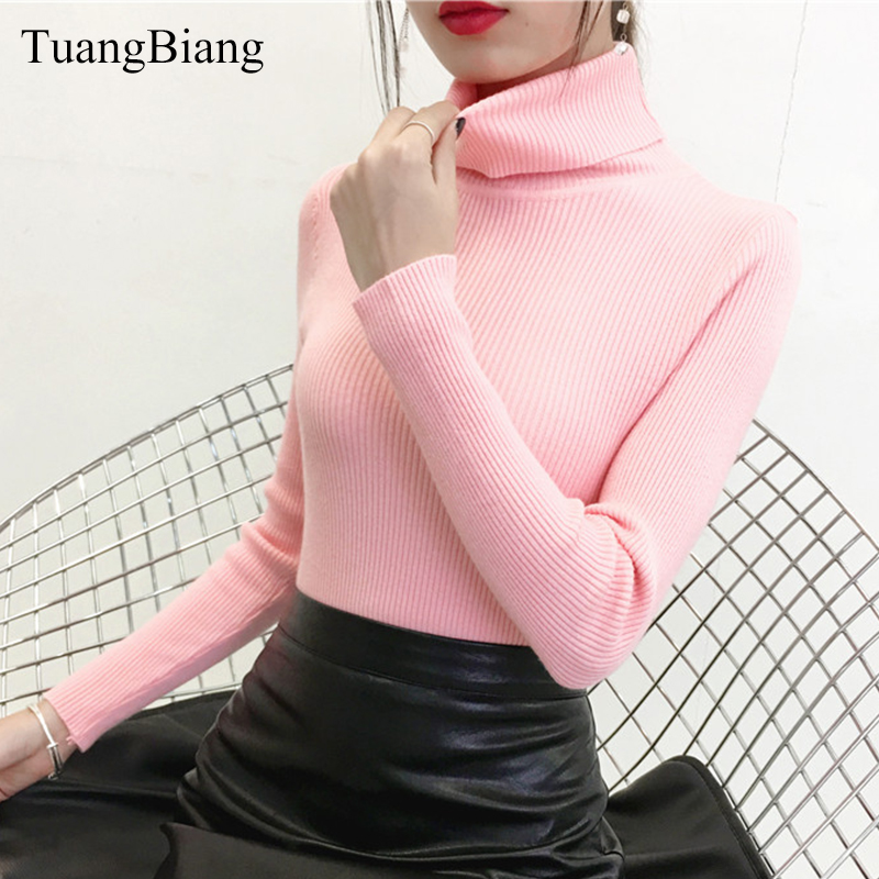 2018 Autumn Winter Turtleneck Pullovers Pink Sweater Knit Elasticity Long Sleeve Vintage Sweater Feminino Solid Color Sweaters