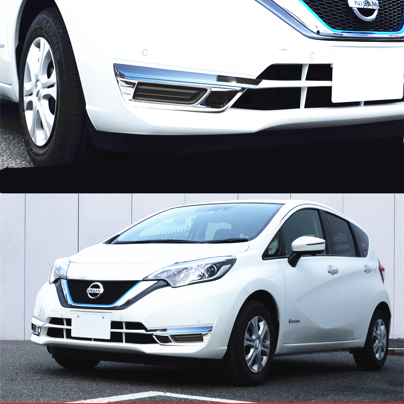 JY 2PCS Chrome ABS Front Fog Lamp Cover Molding Trim Car Styling Protector For NISSAN NOTE E12 Hatchback 2016 upward|protector cover|protector car|protector lamp - title=