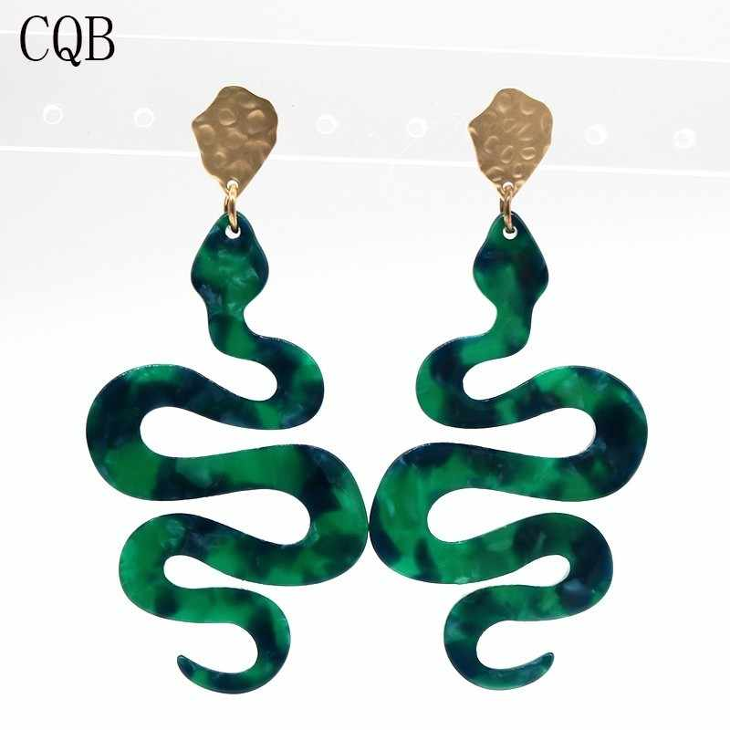 Green Resin Geometric Earrings