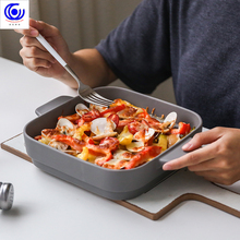 4 Colors Ceramic Binaural Square Cheese Baked Plate Pan Baking Dish Tray Western Dishes Oven Bowl 1.3L High Temperature 600C