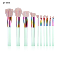 Docolor New Summer 10PCS Makeup Brushes Set Colorful Synthetic Bristle Light Green Transparent Handles Make Up