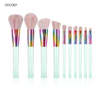 Docolor New Summer 10PCS Makeup Brushes Set Colorful Synthetic Bristle Light Green Transparent Handles Make Up