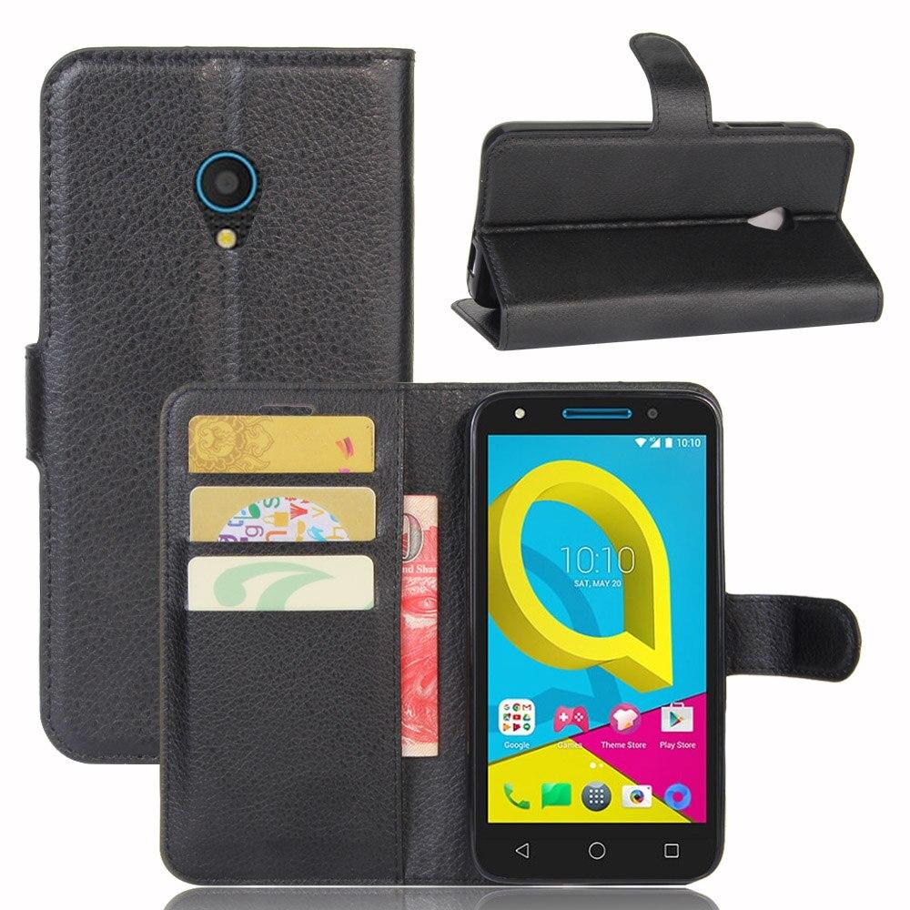 Fashion Wallet PU Leather Case Cover For Alcatel U5 Flip Protective Phone Back Shell Visa Card Slot Simple 9 Colours Brown Black visa