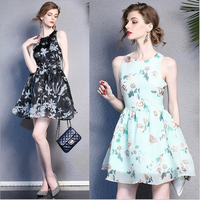 Lafhy Dofhy 2017 new design real silk sleeveless printing short dress with beautiful flowers painting for women 099