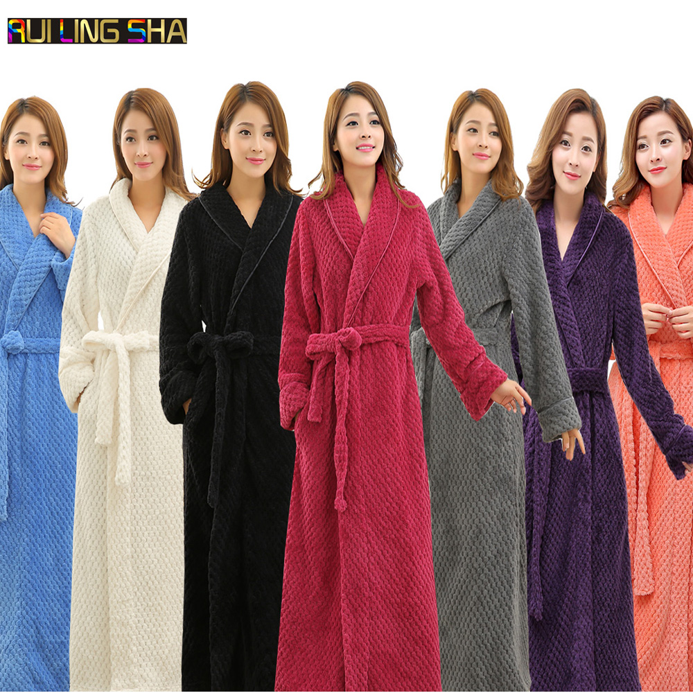 039358d2c4 Detail Feedback Questions about Hot Selling Women Long Thick Warm Winter  Super Bath Robe Lovers Kimono Bathrobe Men Dressing Gown Bride Wedding  Bridesmaid ...