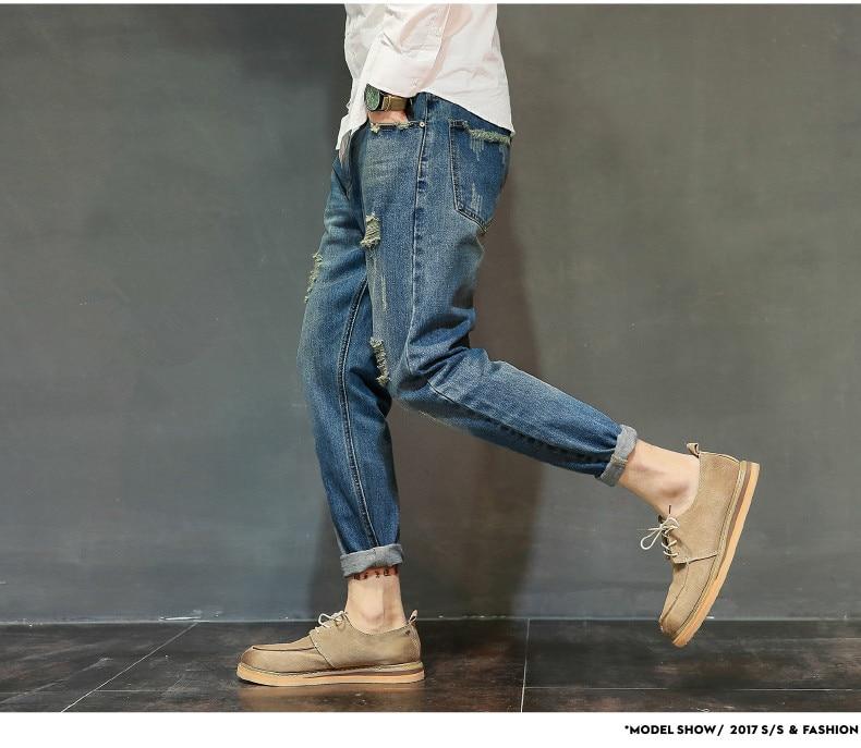 famous brand factory leather zipper jeans men deep blue slim straight pants masculina vaqueros trouse mid regular solid pencil 14