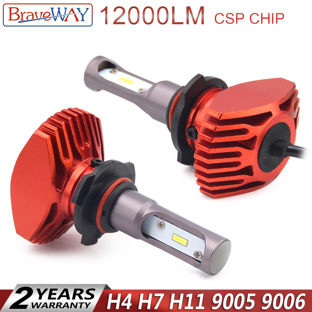 Automobiles & Motorcycles Braveway Super Led Csp Chip 12000lm H4 H7 H11 Hb3 Hb4 Led Headlight 9005 9006 H7 Led Lamp For Auto Light Bulb Ampoule Bombilla Let Our Commodities Go To The World