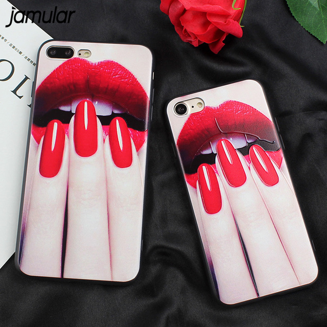 Fashion Sexy Lips Kiss Soft Case For iPhone 7 7 Plus Cover Case Nail ...