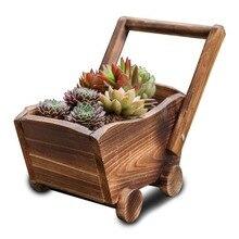 Caioffer Cute Cart Shape Garden Wooden Flowerpots Free Standing Plant Planter Pot Decorative Children Toys Best Gift 2017 CJ006