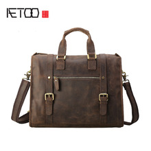 Cheap AETOO European version of the first layer of leather mad horse skin male briefcase 14-inch computer bag Messenger bag shoulder b