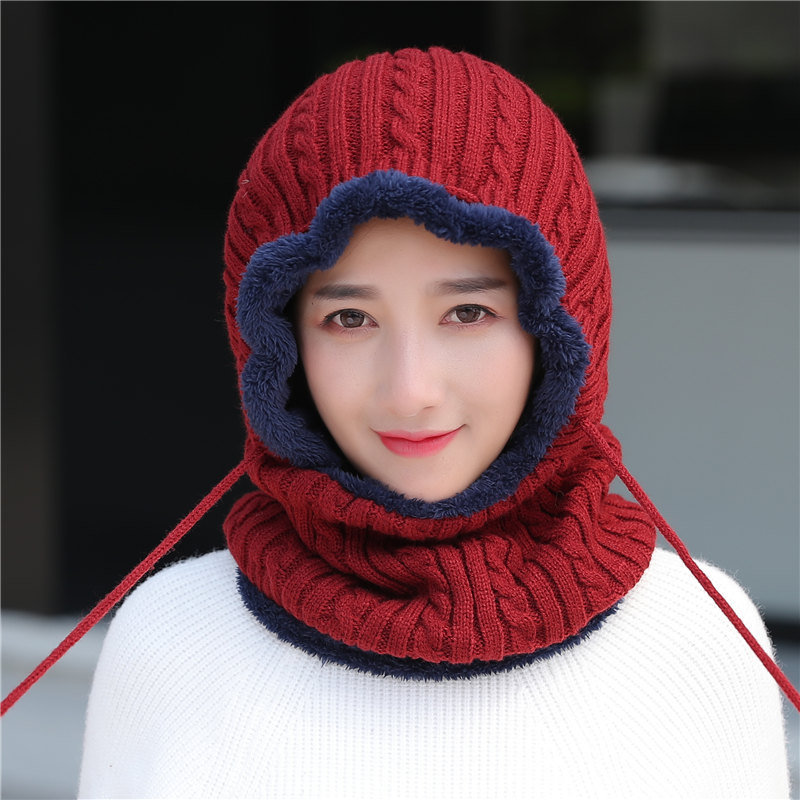 Woman  Skullies Beanies Riding Windproof Mask Ear Protect Balaclava Winter Hats For Women Thick Warm Knitted Cap Female Male
