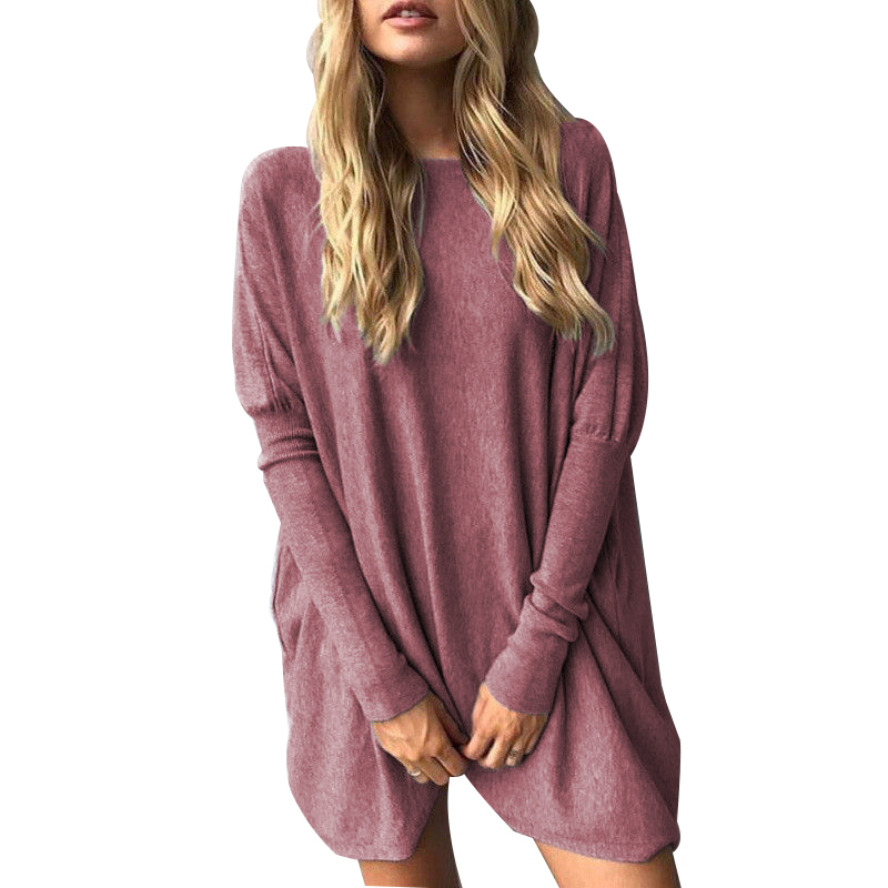 Autumn Women Tops Female Loose Casual Batwing Long Sleeve Solid Tee Tops Shirt Plus Size Pullovers Sweatshirt