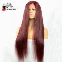 Sunnyмая 99J человеческие волосы на кружеве парики с волосами младенца прямые бразильские волосы remy Предварительно сорванные парики для женщи