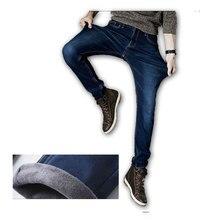 2016 новый Дизайнер теплые Джинсы Мужчины джинсовые брюки толщиной winte брюки, мужчины брюки джинсы топ джинсы стекаются внутри плюс размер 28-42