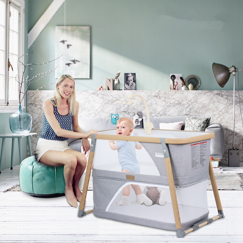 Portable 3 In 1 Baby Crib Multifunction Baby Nest Double Layer Game Bed Folding Cot Travel Bed Baby Shaker