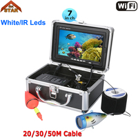 Professional Fish Finder Underwater Fishing Video Camera Wifi 7Color Monitor 1000TVL HD CAM 12pc Infrared lights ice FishFinder
