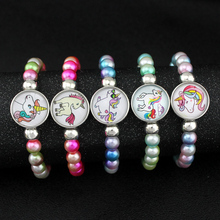 Unicorn Beads Bracelets 18mm Snap Buttons Dome Cabochon Flamingos Horse Charms Trendy Jewelry Girls Women Boy Unisex Gift