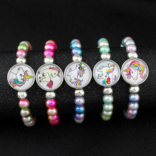 Unicorn Beads Bracelets 18mm Snap Buttons Dome Cabochon Flamingos Horse Charms Trendy Jewelry Girls Women Boy Unisex Gift(China)