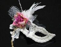 Venedik Parti Çiçek Maske Beyaz Tüy Dantel Masquerade Ball Karnaval Fantezi Elbise fascinator Aksesuarları