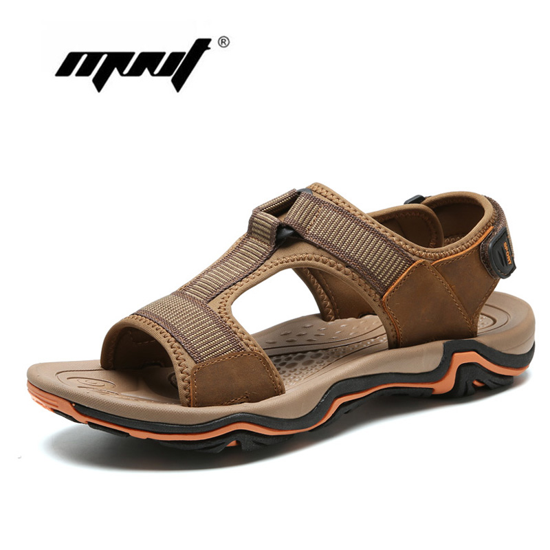 Fashion men sandals slippers genuine leather cowhide male summer shoes outdoor casual sandals shoes
