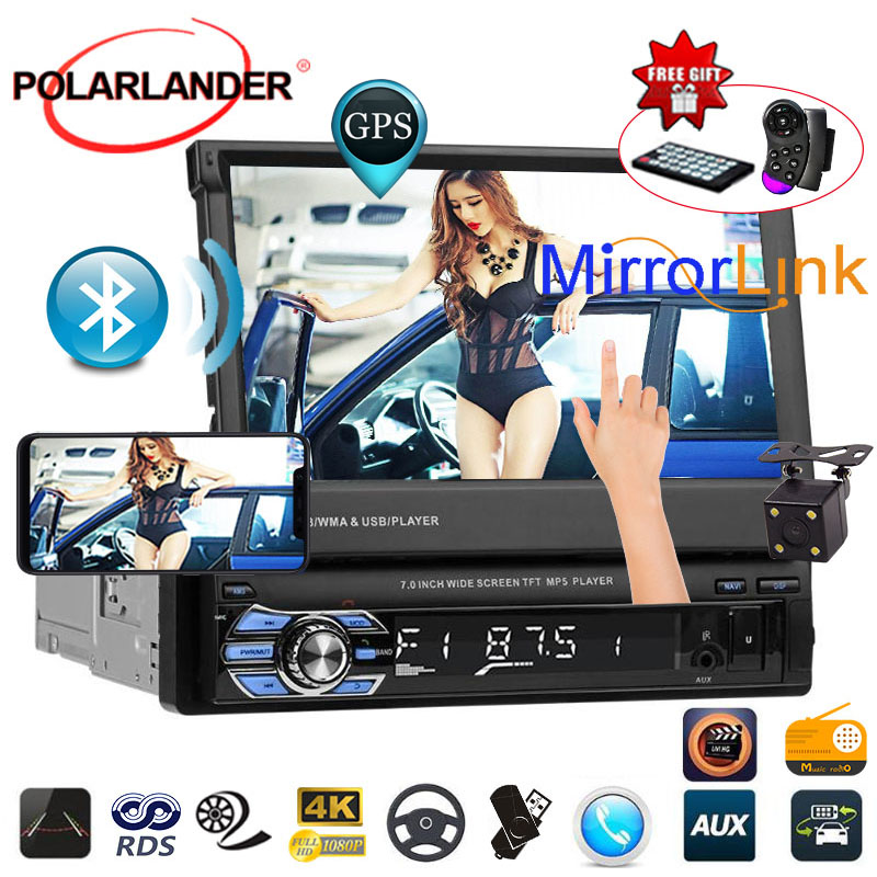 Bluetooth miroir lien GPS écran tactile MP5 1 din 12 multi-langue stéréo FM USB TF vidéo 7 pouces autoradio lecteur