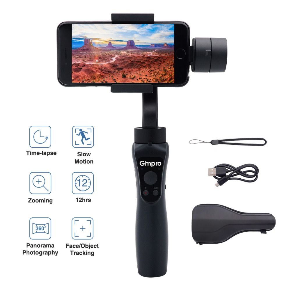 Gimpro ONE 3-Axis Gimbal Stabilizer for Smartphones up to 6'' 210g like 6/7/8/X & Android Phones, Gopro 3/4/5, 12h Running Time цены онлайн