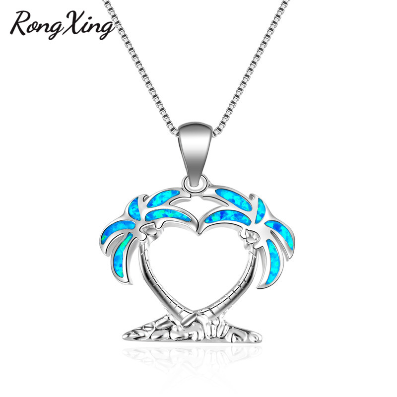 Elegant Lady Jewelry 925 Silver Blue Tree Fire Opal Pendant Chain Necklace