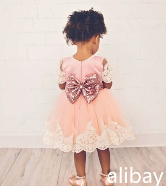 New Cute Pink Flower Girl Dress with Bow O-neck Short Sleeve lace sequin sashes Toddlers Girls Birthday Dress
