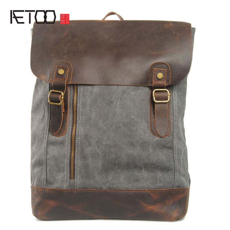 AETOO Retro shoulder bag female student backpack fashion travel influx of leisure backpack men and women package купить