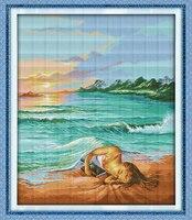 The córka morza, dmc 14ct 11ct policzone drukowane na tkaninie cross stitch zestawy, haft robótki zestawy, Home Decor