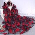 Негабаритных Вышитый Шарф для Женщин Этнических Цветок Листья Шарфы и Шали Дамы Повседневная Chic Цветочные Шелковый Seersucker Обертывание