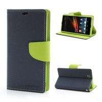 Mercury Fancy Diary Stand Leather PU Flip Cover Cell Phone Case For Sony Xperia Z L36h