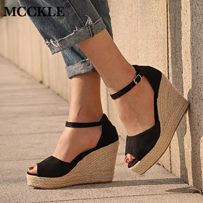 цена MCCKLE Plus Size Bohemian Women Sandals Ankle Strap Straw Platform Wedges For Female Shoes Flock High Heels Cover Heel Sandal в интернет-магазинах