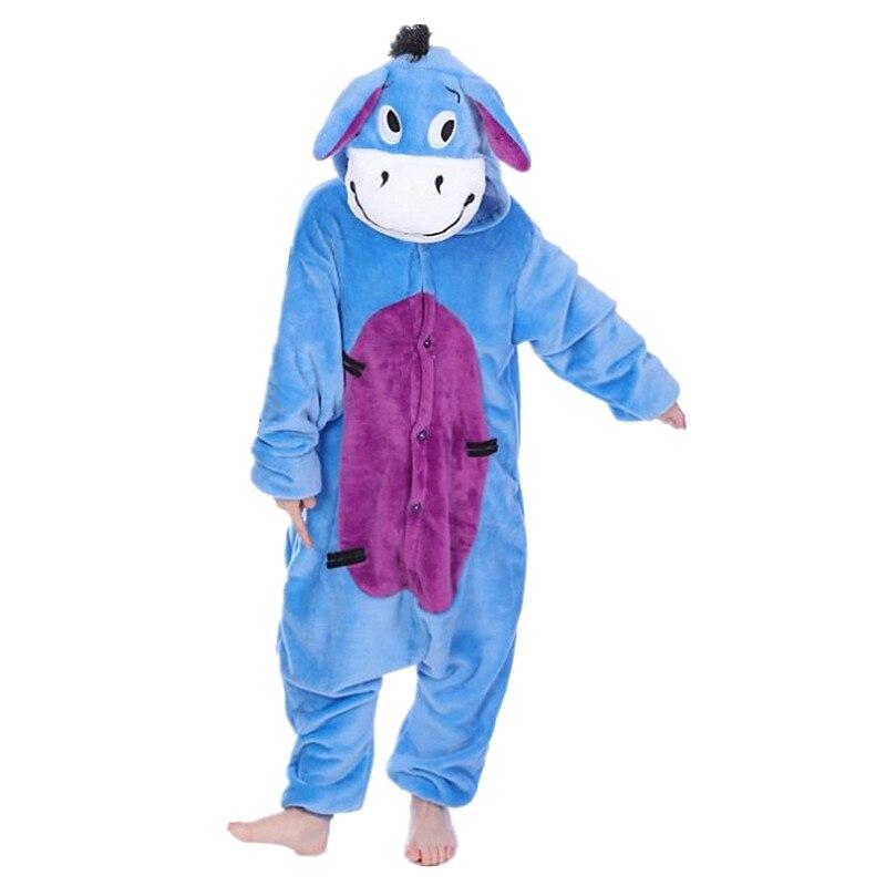 Eeyore Osel Dětské kreslené Kigurumi Cosplay Kostýmy Kids Onesie Pajamas Oblečení pro Halloween Karneval Nový rok Party