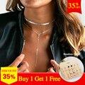 Komi Bohemia Collar mujeres lentejuelas Collar Maxi Collar de cristal Collar Chocker Bijoux joyería comprar uno y dos regalos O-462