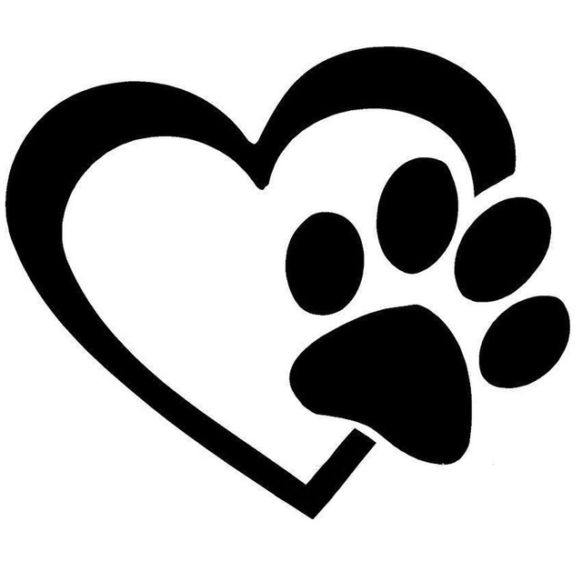 1 pc fashion design heart with dog paw puppy love decal window sticker for cars