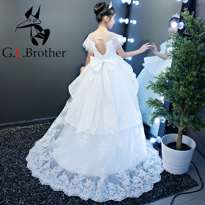 Kids Girls Pageant Gowns For Birthday Party Long Tailing Ball Gown ...