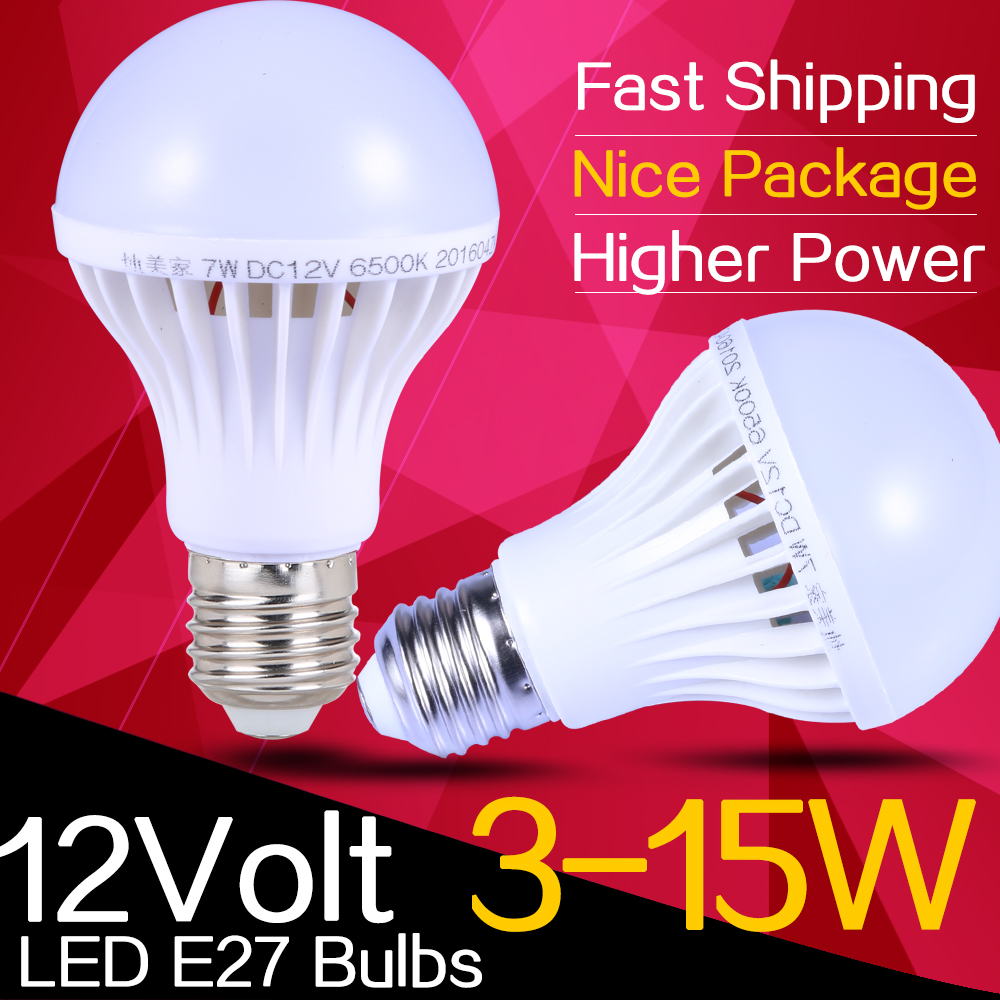 Energy Saving E27 Led Bulb Lights Dc 12v E27 Led Lamp 3w 5w 9w 12w 15w High Power Lamparas Led
