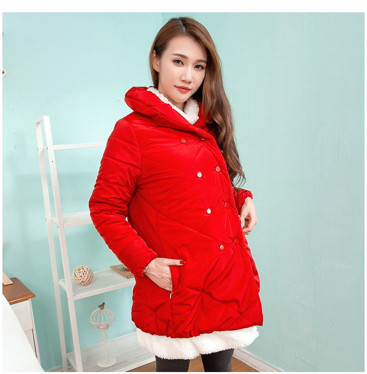 ФОТО Fashion Winter Warm Clothes for Pregnant Women Pockets Padded Down Coats Jackets for Pregnancy Maternity Coat Jacket E531