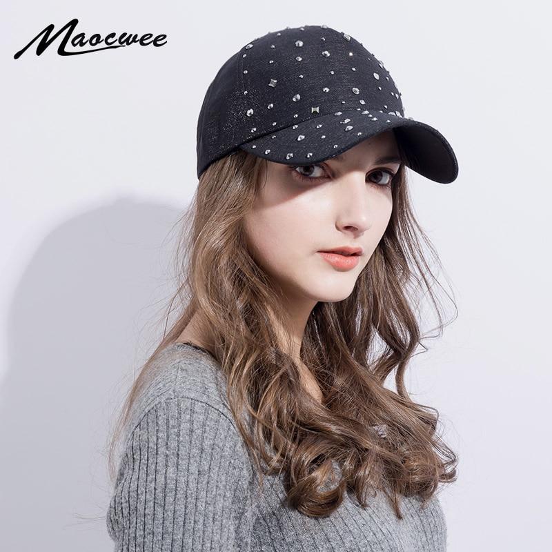 b8e860c5651 Pink Napback Hat Adjustable Bling Women Men Denim Rhinestone Studded  Baseball Hat Sun Cap Black Hat Female Outdoor Casual hats-in Baseball Caps  from Apparel ...