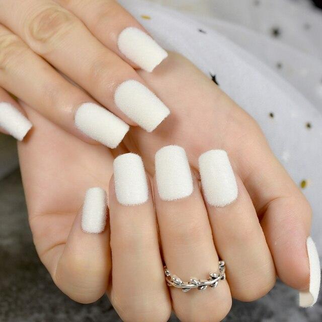 Velours chaud faux ongles blanc mat acrylique ongles flocage velours  flocage poudre décoration faux Nail Art