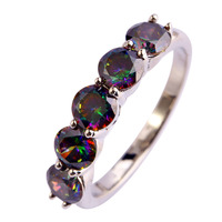 New Fashion Mysterious Jewelry Round Cut Rainbow Topaz 925 Silver Ring Gift For Women Size 6 7 8 9 10 Free Shipping Wholesale