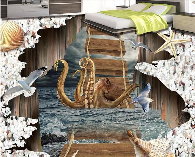 3d bodenbelag wolken meer octopus br cke selbst adhesive wand dekorationen 3d bodenbelag pvc. Black Bedroom Furniture Sets. Home Design Ideas