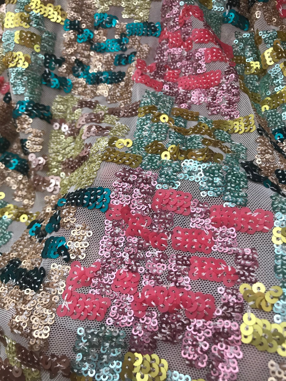 nice looking sequins net african embroidered tull lace fabric ZH 121127 for fashion dress