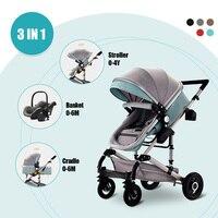 Детская коляска 3 в 1, люлька для безопасности автомобиля, складная коляска коляска, лежащая спальная корзина, детская коляска для детей 0 4 ле