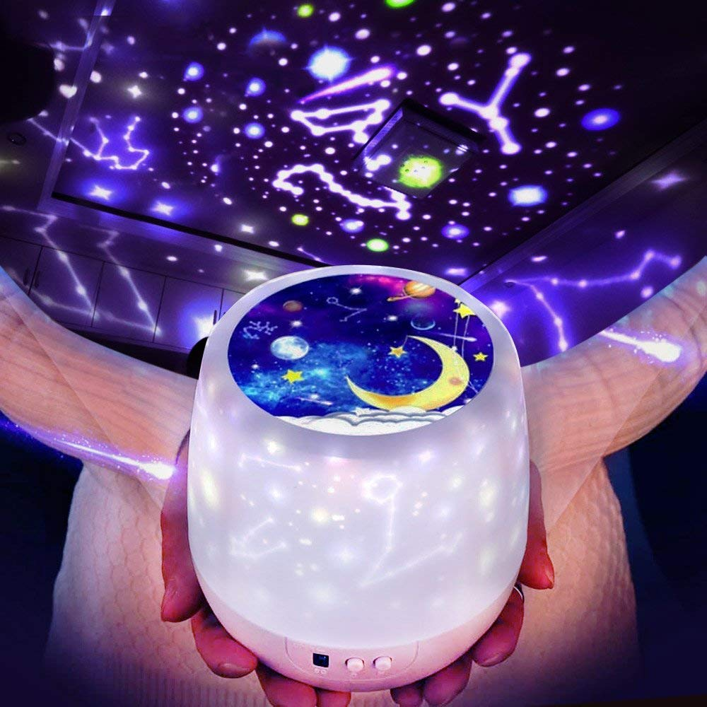 Rotating Constellation Star Sky Projector Luminaria Spin Ocean Universe Birthday Dimmer Night Lamp For Kids Xmas New Year Gift